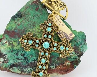 Rhinestone Cross Scarf Pendant ~ Aqua and Antique Gold ~ Scarf Accessory~ Scarf Jewelry