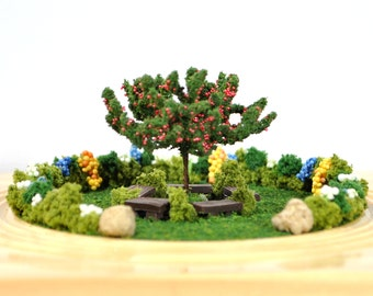 Summer day in a park- Table Top Garden Relaxation Garden Handmade Diorama Garden Scene Gift for Her Mini Garden Dry Terrarium