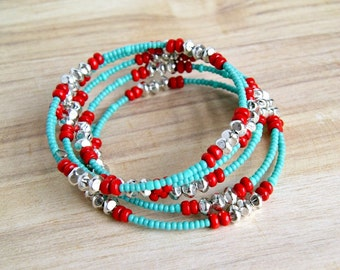 red aqua memory wire bracelet, beaded bracelet, wrap, bangle