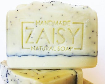 Handmade Soap, Creamy Poppyseed, Fragrance Free, Unscented Soaps, Cool, Cute, Fun Soap, Vegan Soaps, Bubbly Soap, Essential Oil Soap