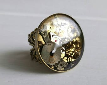Steampunk Ring XIV, Airship Pirate, Industrial Jewelry, Clock Gears, Watch Pieces, Steam Punk Costumes, Masquerade Ball Party, Goggles Gas