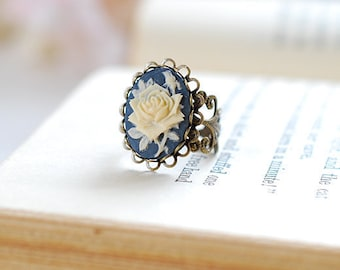 Navy Blue Ivory Rose Cameo Ring, Victorian Style Antique Brass Filigree Adjustable Ring, Cocktail Ring, Gift for her, Valentine's Day Gift