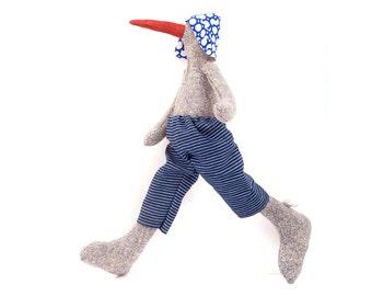 Penguin doll , Stuffed doll , Plushie Softie doll , handmade cuddling doll , knitted silk duck doll , Stuffed duck doll , cosy soft animal