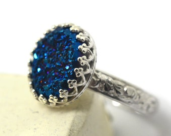 Midnight Blue Druzy Ring,Sterling Silver Renaissance Style Jewelry, Druzy Agate Ring, Blue Gemstone Jewelry