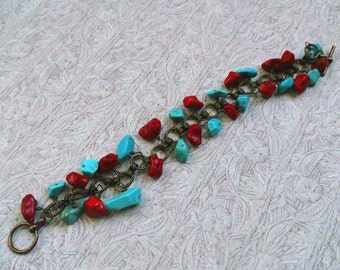 Coral and Turquoise Gemstone Chips Bracelet on Antiqued Gold Plated Brass