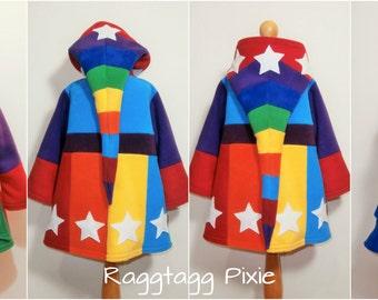 RAINBOW Stars, Wizard Jacket, KIDS, Fleece Hoodie, Pixie, Elf, Fae, Fairy, Festival, Patchwork, Stripey, Hippy
