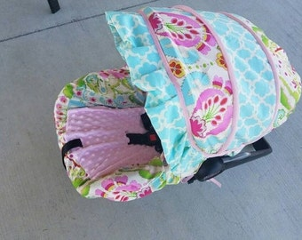 Baby girl Infant Car Seat Cover & ruffle, Baby Car Seat Covers, Car Seat Slipcovers,Baby Girl with ruffle Car Seat Covers, Infant Cover