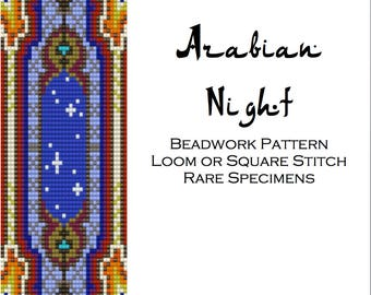 Arabian Night Beadwork Pattern for Square Stitch or Loom - PDF instant download