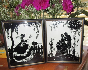 Mid Century Reverse Glass Paintings - Set of Two 8 x 10