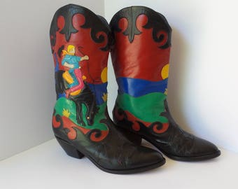Vintage ZALO Womens Leather COWBOY BOOTS, Womens Leather Boots Size 7, Womens Western Boots, Applique Cowboy Boots
