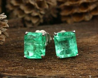 Emerald Earrings, 14K White Gold Emerald Stud Earrings 3.0 Carat Colombian Emeralds, Emerald Jewelry, Emerald Cut Earrings 14k