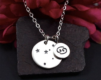 Cancer Constellation Necklace Sterling Silver, Cancer Jewelry, Cancer Sign Necklace, Cancer Zodiak Necklace, Cancer Sign Gift, Cancer Season