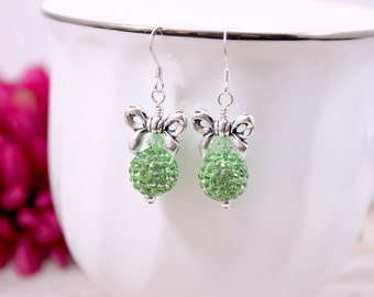 St. Patrick's Day Earrings, Green Pave Crystal Earrings, Luck of the Irish Earrings, Green Bow Earrings