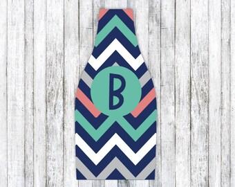 TEAL NAVY CHEVRON personalized monogram bottle beverage insulator - zippered back for longnecks - weddings, bachelorette, parties, beaches