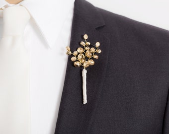 Gold Boutonniere - Metallic Sparkling Golden Boutonniere for Weddings or Prom - Mens Wedding Boutonniere - Prom Boutonniere -