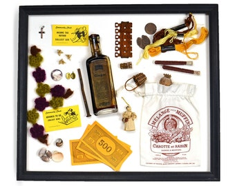 Collection of AMBER Found Objects - Use in Craft Work - Antique Medicine Bottle, Monopoly Memorabilia, Costume Jewelry, Rusted Metal, Doll