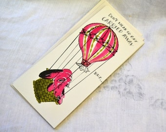 1950s NOS Pink Dog in a Hot Air Balloon Congrats Card with Envelope