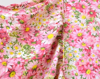 1960s Pink Daisy Linen Twin Size Fitted Bedspread