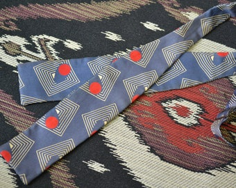 1950s Blue Print Silk Bow Tie