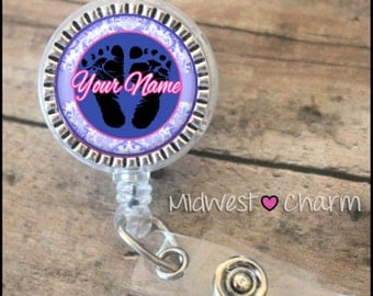 blue and pink baby feet..Personalized retractable badge pinch...nurse.labor and delivery..lpn..rn..md..id holder..lanyard..bottlecap jewelry