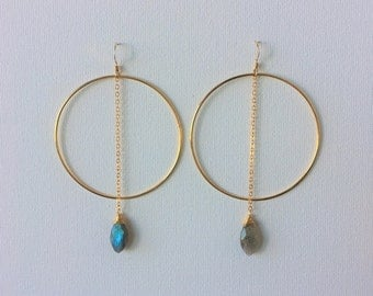 Labradorite & Gold Hoop Earrings, Labradorite Earrings, Gold Dangle Earrings, Gold Hoop Earrings, Gold Statement Earrings, Indira Boheme