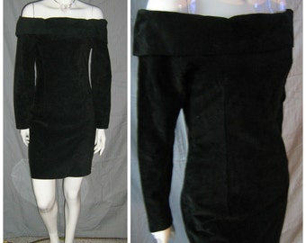 1980's Sexy Black Suede Off Shoulder Dress Mini Bodycon Wiggle 90s Supermodel Mtv Rock Video Vixen sz 6