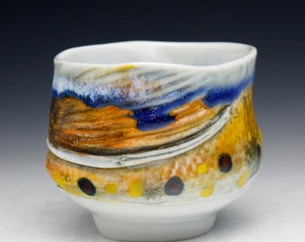 Small Brook Trout Tea bowl  (Nature as Objects) Gyotaku