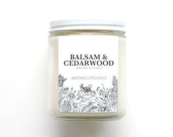 BALSAM & CEDARWOOD - Perfumed Soy Candle, Vegan, Natural Home Fragrance