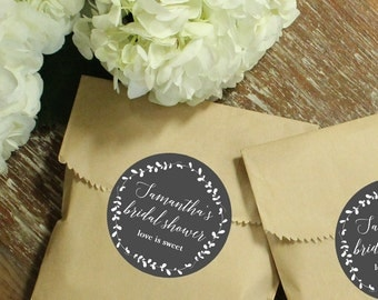 24 Bridal Shower Favor Bags with Personalized Laurel Labels // Wedding Favors // Baby Shower Favors // Kraft Favor Bags | ANY OCCASION