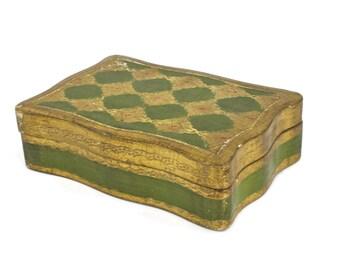 Florentine Box - Italian Box, Jewelry Box, Emerald Green and Gold, Vintage Florentine Box, Made for I. Magnin, Shabby Decor, c.1960s