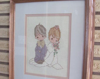 Vintage 80's Precious Moments Wedding Needlework Picture - Wedding Gift - Marriage - Collectible - Artwork - Bride and Groom