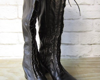 Vintage Black Boots Women's Granny Boots Lace up Boots Size 10 M  Dead Stock