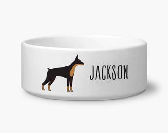 Personalized dog bowl, Doberman custom dog food bowl, Doberman gift