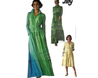 "1970s JIFFY Caftan Or Robe Long Or Short Front Zipper Raglan Sleeves Size XLarge Bust 54"" (137 cm) Simplicity 7848 S"