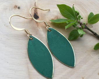 Emerald Green Patina and Gold Marquise Drops . Earrings . Mara Collection