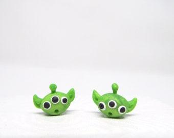 Toy Story earrings, Toy story aliens earrings, little green men earrings, disney alien studs, pixar earrings