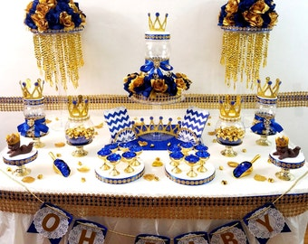Royal Prince Baby Shower Candy Buffet Centerpiece / Oh Baby Boy Candy  Display/ ROYAL BLUE