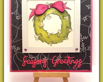INSTANT DOWNLOAD Cute Christmas for Pets or Creepy Cute Creepmas for Skeletons  - Bone Wreath No.351 by Lizzy Love