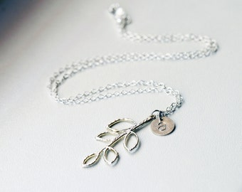 Branch Initial Necklace, Custom Twig Necklace, Branch Monogram Silver Necklace, Custom Twig Necklace, Hand Stamped Name Branch