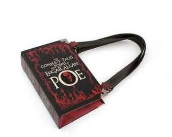 Edgar Allan Poe Book Purse - Decadence Handbag- Book Clutch, Novel Bookpurse - Great Christmas gift for any book lover, teacher, librarian