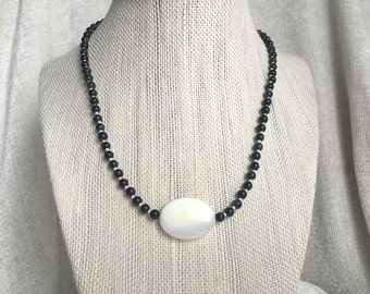Simple black and white unisex necklace: Caught in the Venus Eye; casual necklace, gift under 30, black necklace, simple necklace