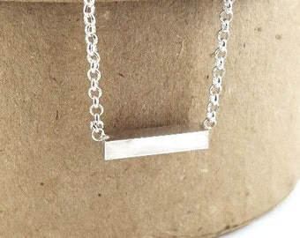 Sterling Silver Bar Pendant, Handmade Bridesmaid Gift and Gift for Her
