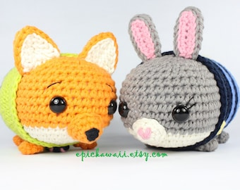PATTERN 2-PACK: Judy Hopps and Nick Wilde Zootopia Tsum Tsum Crochet Amigurumi Dolls