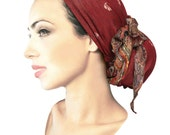 Boho chic head scarf burnt crimson red ethnic hippie artisan snood tichel pre tied bandana chemo hat cap headwear ShariRose pashima cashmere