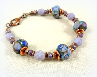 Purple and Blue Lampwork Bracelet - Blue, Lavender and Copper Bracelet - Artisan Lampwork Bracelet with Czech Beads