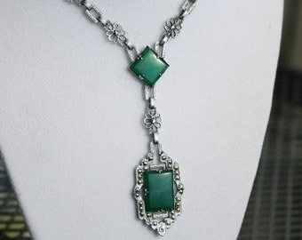 Vintage Art Deco Rhodium Filigree Marcasite and Chrysoprase Green Glass Necklace 1920s