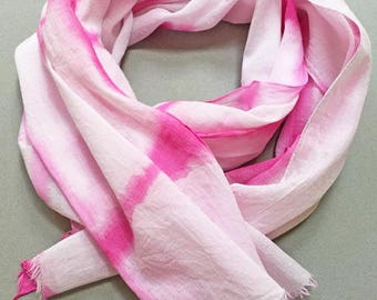 Hot Pink Scarf, Shibori Scarf, Hot Pink Cotton Scarf, Woman's Cotton Scarf, Watercolor Scarf, Hand Painted Scarf, Hand Dyed, Summer Scarf