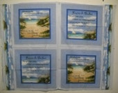 Footprints in the Sand Fabric Pillow Panel God Sailboat Seagulls 46x35 New
