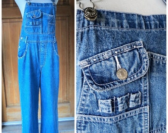 Vintage 90s Overalls Stonewashed Blue Jeans Revolt Tiny White Floral Embroidery Denim 90s Overalls Med up to 34 W