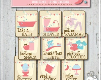 Bedtime Routine Cards | Pink | Evening Schedule | 9 Printable Cards | Printable Routine Cards | Girl | Bedtime | FREE BONUS